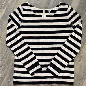 J.Crew Striped Zip Back Sweater